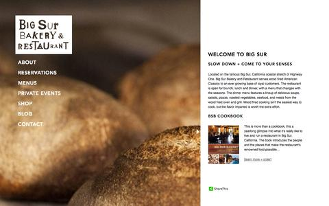 Screenshot of Home Page bigsurbakery.com - Big Sur Bakery & Restaurant | Big Sur California | Open Daily - captured Oct. 5, 2014