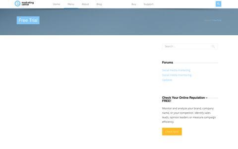 Screenshot of Trial Page e-marketingcenter.com - emarketingcenter – Social power    Free Trial - captured Sept. 26, 2014