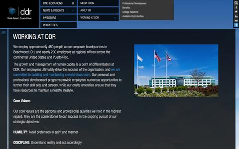 Screenshot of Jobs Page ddr.com - Working at DDR Corp. | Commercial Real Estate Careers - captured Sept. 23, 2014