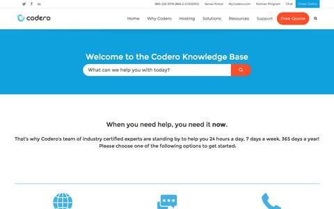 Screenshot of Support Page codero.com - Support – Codero.com - captured Feb. 12, 2020
