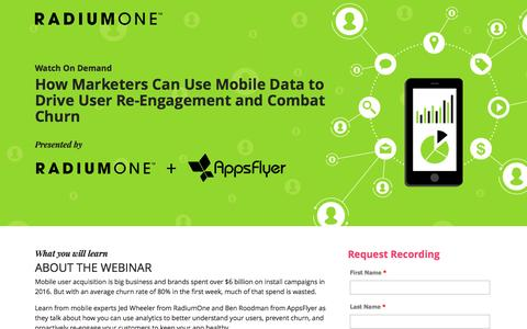 Screenshot of Landing Page radiumone.com - How Marketers Can Use Mobile Data to Drive User Re-Engagement and Combat Churn - captured April 21, 2017