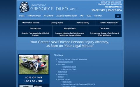 Screenshot of Site Map Page gregdileo.com - Site Map | Law Offices of Gregory P. DiLeo, APLC | New Orleans, Louisiana - captured Oct. 2, 2014