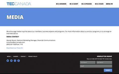 Screenshot of Press Page tec-canada.com - Media | TEC Canada - captured Dec. 7, 2016