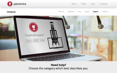 Screenshot of Support Page gracenote.com - Gracenote | Gracenote Support - captured June 16, 2015