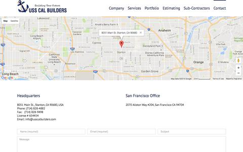Screenshot of Contact Page Locations Page usscalbuilders.com - construction companies in california, home builders in CA - captured Nov. 25, 2016