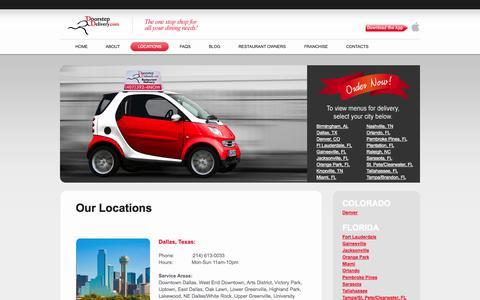 Screenshot of Locations Page doorstepdelivery.com - Restaurant Delivery, Food Delivery: Doorstep Delivery Order Online! - captured Oct. 30, 2014
