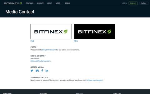 Screenshot of Press Page bitfinex.com - Bitfinex - Media Contact - captured Aug. 22, 2018