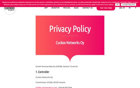 Screenshot of Privacy Page cuckooworkout.com - Privacy Policy - Cuckoo Workout® - taukoliikuntasovellus - captured July 23, 2018