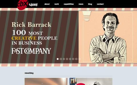 Screenshot of Home Page cbx.com - CBX New York City Branding Agency - captured Sept. 26, 2014