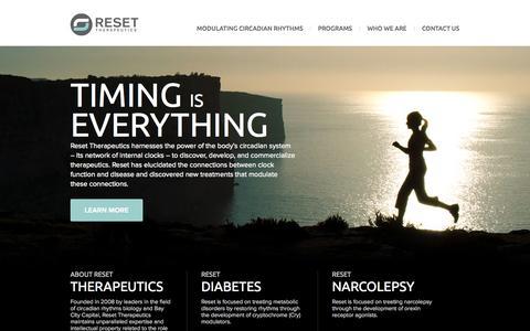 Screenshot of Home Page resettherapeutics.com - Home - Reset Therapeutics - captured Sept. 17, 2014