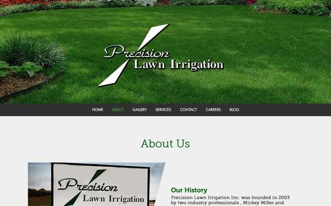 Screenshot of About Page precisionlawnirrigation.net - Precision Lawn Irrigation | About - captured Nov. 10, 2016