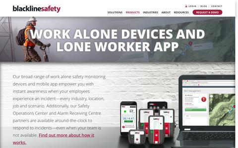 Screenshot of Products Page blacklinesafety.com - Work Alone Devices - captured Nov. 13, 2016