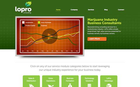 Screenshot of Home Page loproconsulting.com - Marijuana Dispensary Startup Consultants | LoPro Consulting - captured Sept. 30, 2014