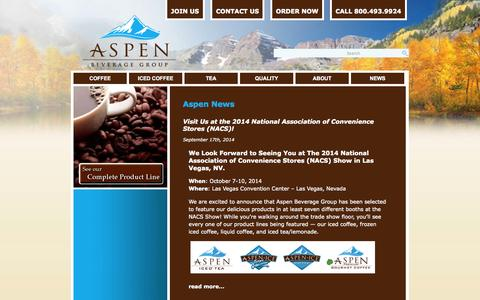 Screenshot of Press Page aspenbeverage.com - News | Aspen Beverage GroupAspen Beverage Group - captured Oct. 4, 2014