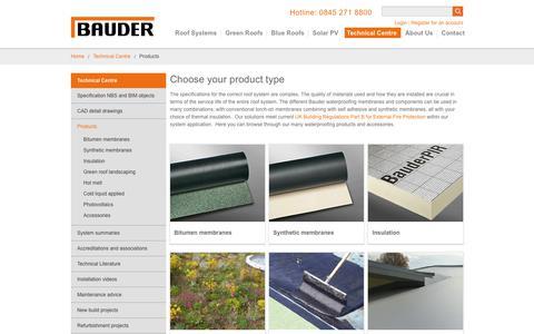 Screenshot of Products Page bauder.co.uk - The Entire Product Range Specifications & Details - Bauder - captured Nov. 6, 2018