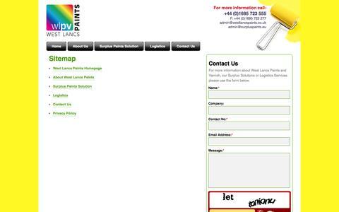 Screenshot of Site Map Page westlancspaints.co.uk - West Lancs Paints | Surplus Paint Reworking | Recycling | Logistics | Contact Us - captured Oct. 9, 2014
