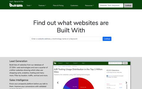 Screenshot of Home Page builtwith.com - BuiltWith Technology Lookup - captured July 5, 2018