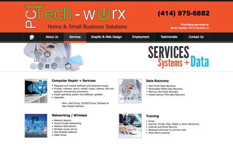Screenshot of Services Page pctechworx.com - PC Tech-worx - Services - captured Oct. 28, 2014