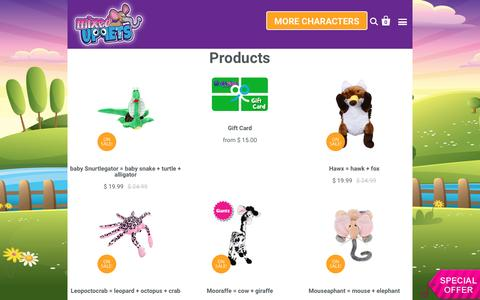 Screenshot of Products Page genetipetz.com - Products | Genetipetz - Mixed Up Stuffed Animals - captured Nov. 4, 2016