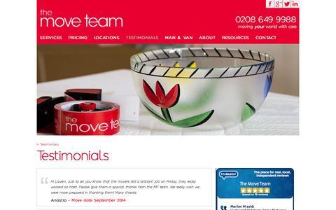 Screenshot of Testimonials Page themoveteam.co.uk - Testimonials | the move team - captured Aug. 4, 2015