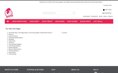 Screenshot of Site Map Page peckaproducts.com.au - Hens Party Supplies and Hens Night Games - captured July 11, 2016