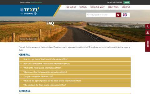 Screenshot of FAQ Page texel.net - Do you have a question? | VVV Texel - captured Nov. 30, 2016