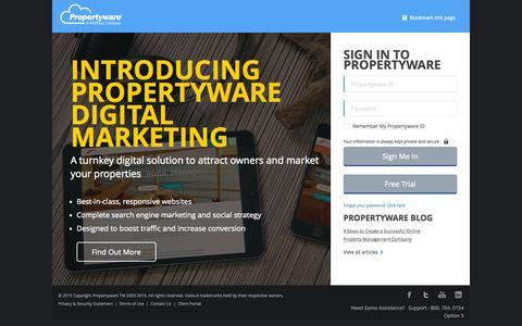 Screenshot of Login Page propertyware.com - Propertyware Login Page - captured Oct. 25, 2015