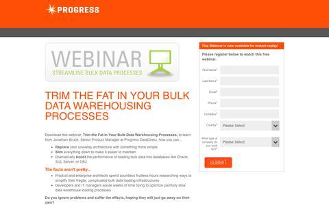 Screenshot of Landing Page progress.com - Trim the Fat in Your Bulk Data Warehousing Processes - captured July 17, 2019