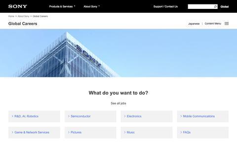 Screenshot of Jobs Page sony.net - Sony Global - Global Careers - captured Sept. 25, 2019