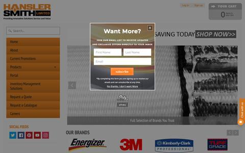 Screenshot of Home Page hansler.com - Hansler Smith Limited | Industrial Supply Ontario, Industrial Equipment & Supplies - captured Sept. 27, 2018