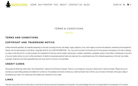 Screenshot of Terms Page kratomdivine.com - Terms & Conditions - Kratom Divine - captured Oct. 16, 2017