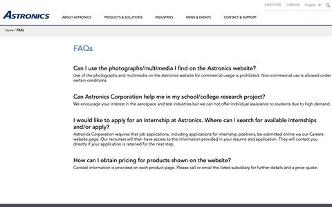 Screenshot of FAQ Page astronics.com - Astronics FAQ - captured May 17, 2019