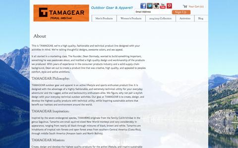 Screenshot of About Page tamagear.com - Tamagear Outdoor Sports Apparel Denver, CO: About Us | TAMAGEAR - captured Sept. 26, 2014