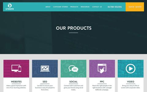 Screenshot of Products Page creare.co.uk - Digital Marketing Products - Creare - captured Jan. 14, 2016