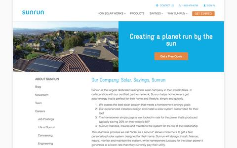 Screenshot of About Page sunrun.com - About Us   Residential Solar Financing & Installation   Sunrun - captured March 31, 2016