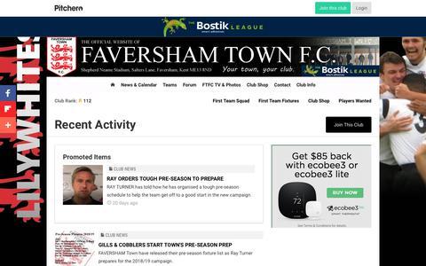 Screenshot of Press Page pitchero.com - Recent Activity - Faversham Town F.C. - captured June 28, 2018