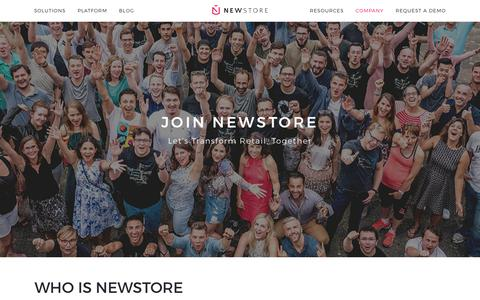 Screenshot of Jobs Page newstore.com - Careers in Retail Innovation | NewStore - captured Sept. 11, 2018