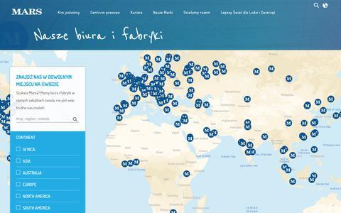 Screenshot of Locations Page mars.com - Nasze biura i fabryki - captured Oct. 21, 2018