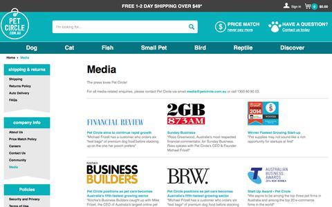 Screenshot of Press Page petcircle.com.au - Media | Pet Circle - captured Aug. 29, 2017