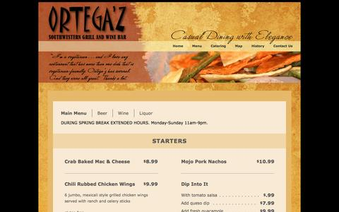 Screenshot of Menu Page ortegaz.com - Contact Us at Ortegaz.com - captured Jan. 24, 2017