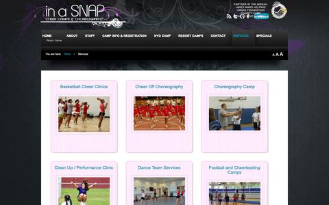 Screenshot of Services Page inasnapcheer.com - Services - captured Oct. 6, 2014