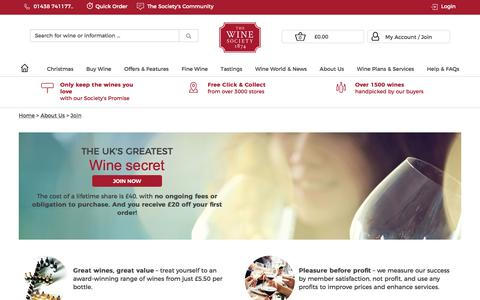 Screenshot of Signup Page thewinesociety.com - Join The Society - Join - About Us - The Wine Society - captured Oct. 24, 2017