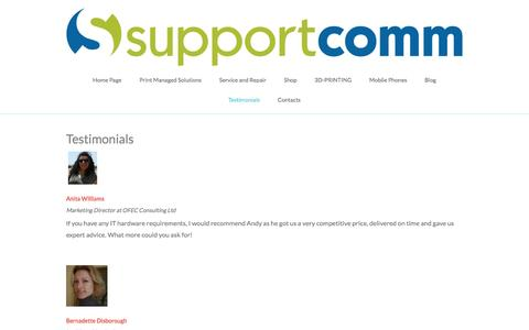 Screenshot of Testimonials Page supportcomm.co.uk - Supportcomm - captured Dec. 3, 2016
