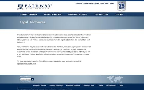 Screenshot of Terms Page pathwaycapital.com - Legal Disclosures | Pathway Capital Management - captured Oct. 26, 2016