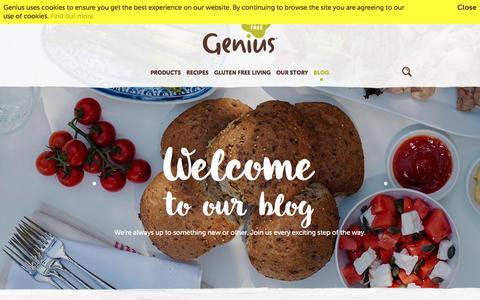 Screenshot of Blog geniusglutenfree.com - Welcome  to our blog   Blog   Genius Gluten Free - captured Nov. 4, 2016