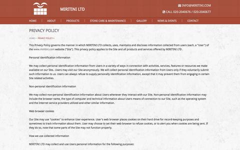 Screenshot of Privacy Page miritini.com - Privacy Policy                |                 Miritini Ltd | Welcome to the Stone Age! - captured Oct. 26, 2014