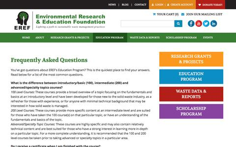 Screenshot of FAQ Page erefdn.org - Frequently Asked Questions - Environmental Research & Education Foundation - captured Oct. 15, 2016