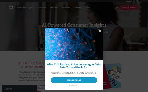 Screenshot of Home Page crimsonhexagon.com - AI-Powered Consumer Insights Company | Crimson Hexagon - captured Aug. 16, 2018
