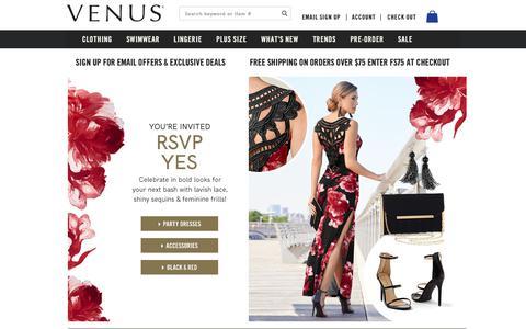 Screenshot of Home Page venus.com - Women's Fashion   Shop Online   VENUS - captured Nov. 7, 2018
