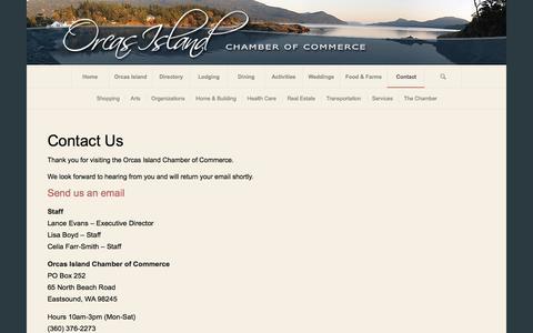 Screenshot of Contact Page orcasislandchamber.com - Orcas Island Chamber of Commerce |   Contact - captured Sept. 3, 2016